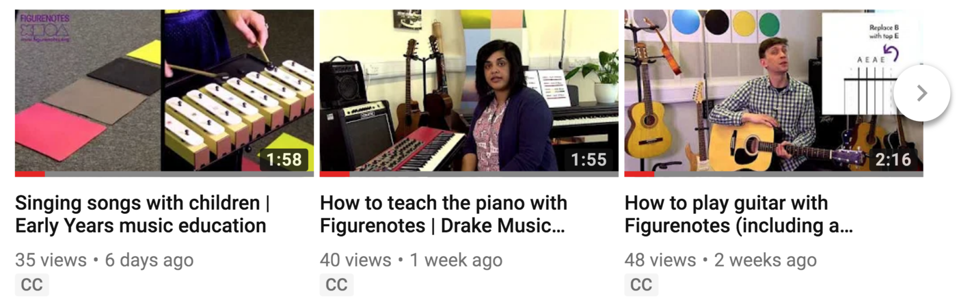 YouTube thumbnails for 3 videos - chime bars, a woman at a piano, and a man holding a guitar.