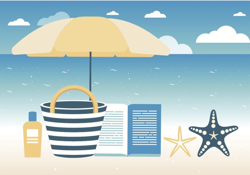 A beach drawing with umbrella, striped beach bag, suncream, a book, and star fish.