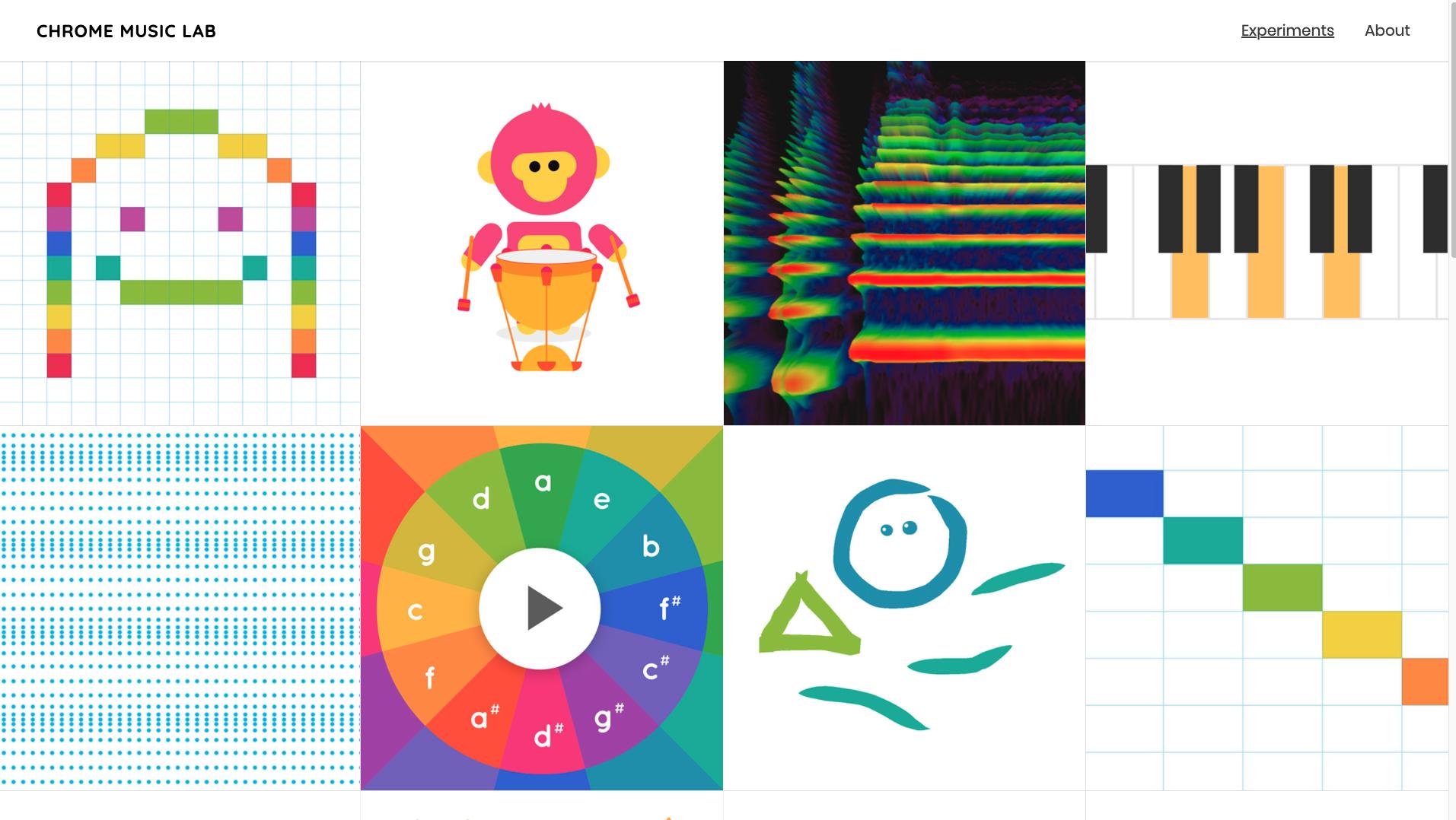 Homepage of Chrome Music Lab