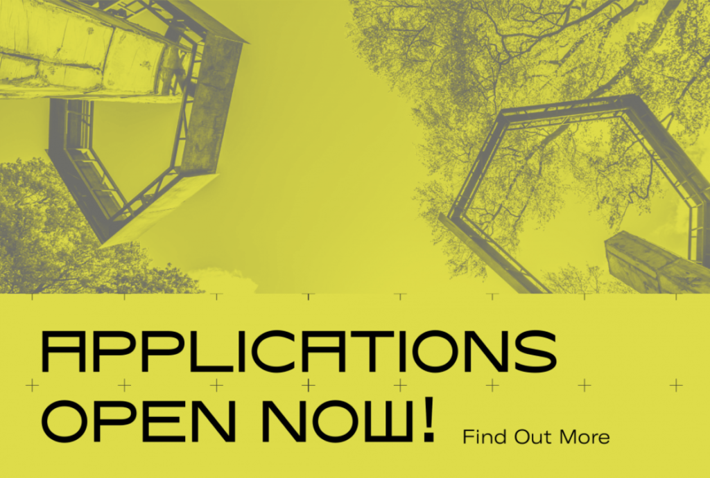 Yellow abstract image with black text: Applications Open Now!
