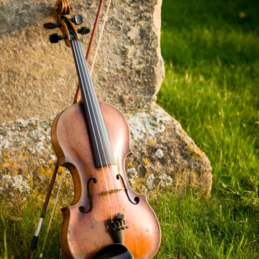 Violin and bow leaning against an external stone wall, surrounded by grass