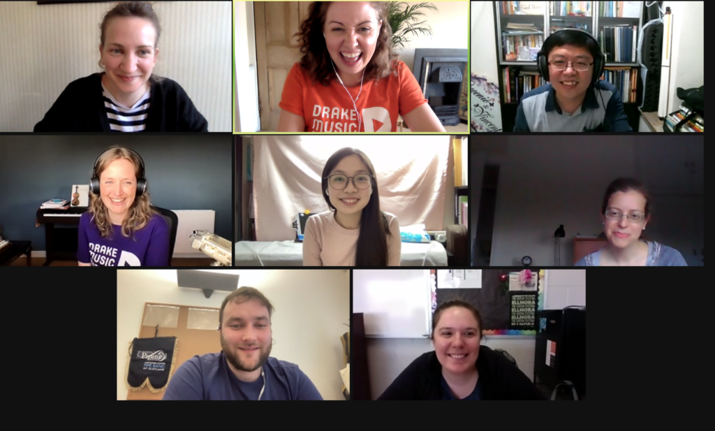 Zoom call gallery with 8 smiling faces