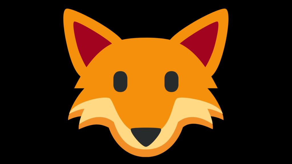 fox flashcard. Black background with orange fox face.